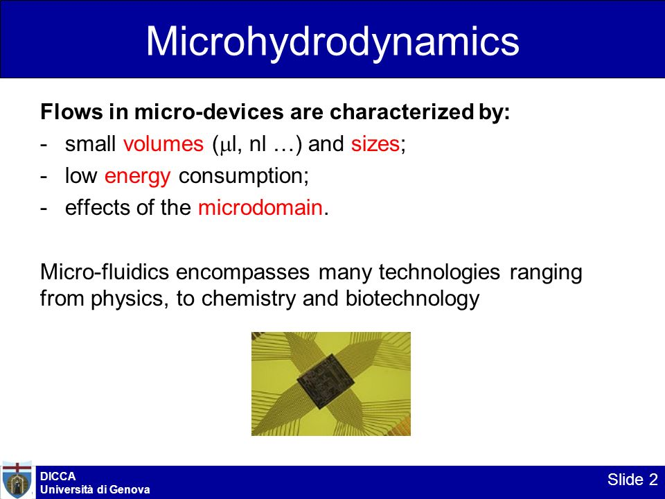 Microhydrodynamics Flows in micro-devices are characterized by: -small volumes ( l, nl …) and sizes; -low energy consumption; -effects of the microdom