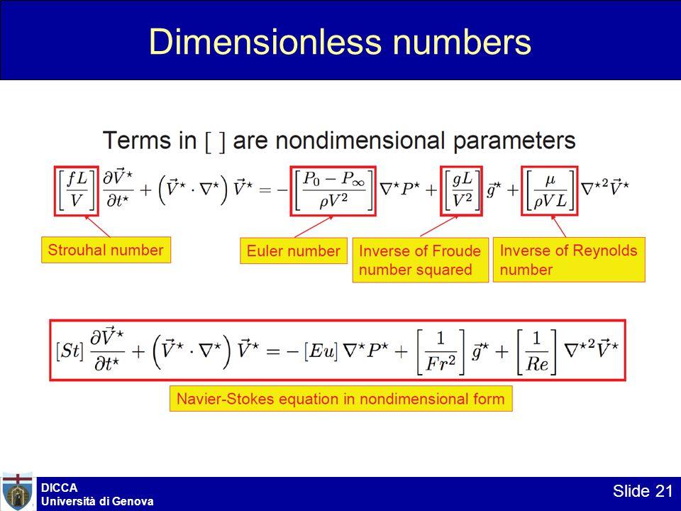 DICCA Università di Genova Slide 21 Dimensionless numbers