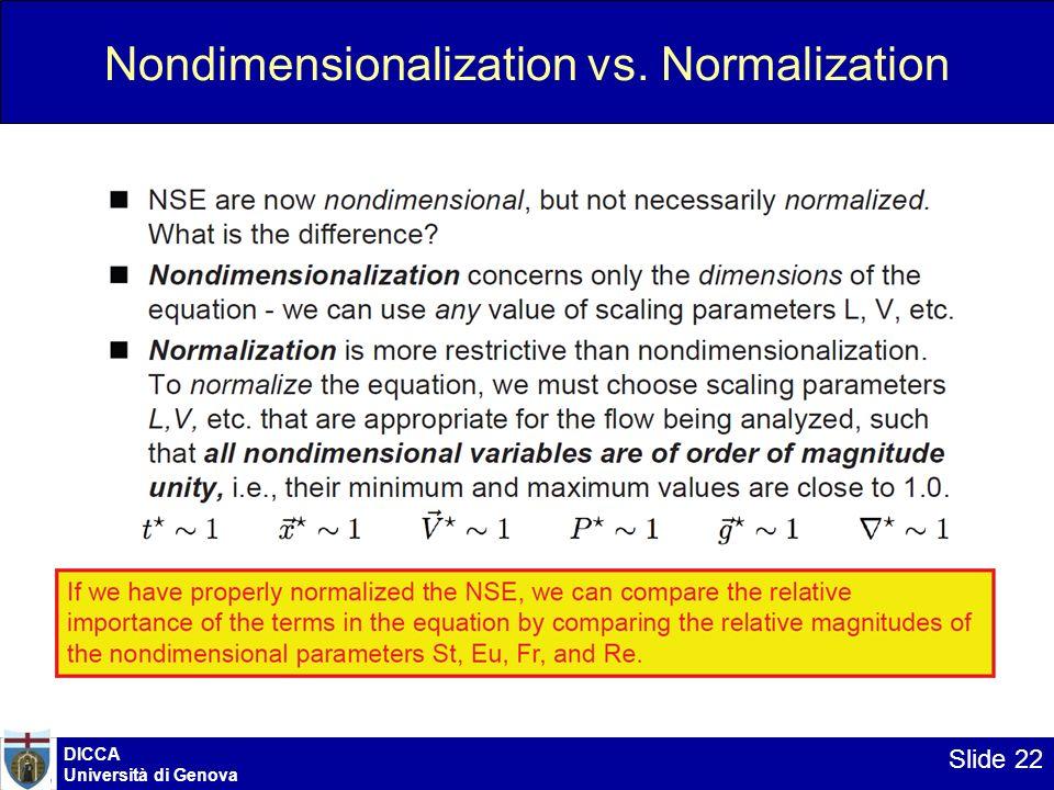 DICCA Università di Genova Slide 22 Nondimensionalization vs. Normalization