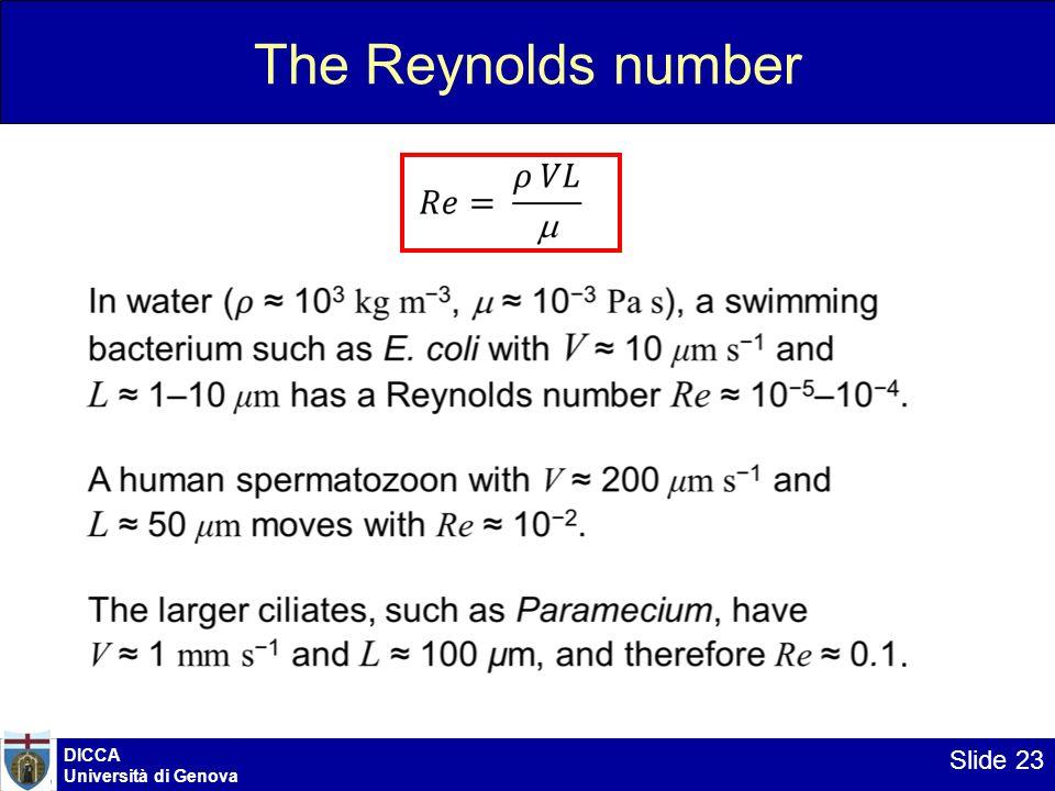 DICCA Università di Genova Slide 23 The Reynolds number.
