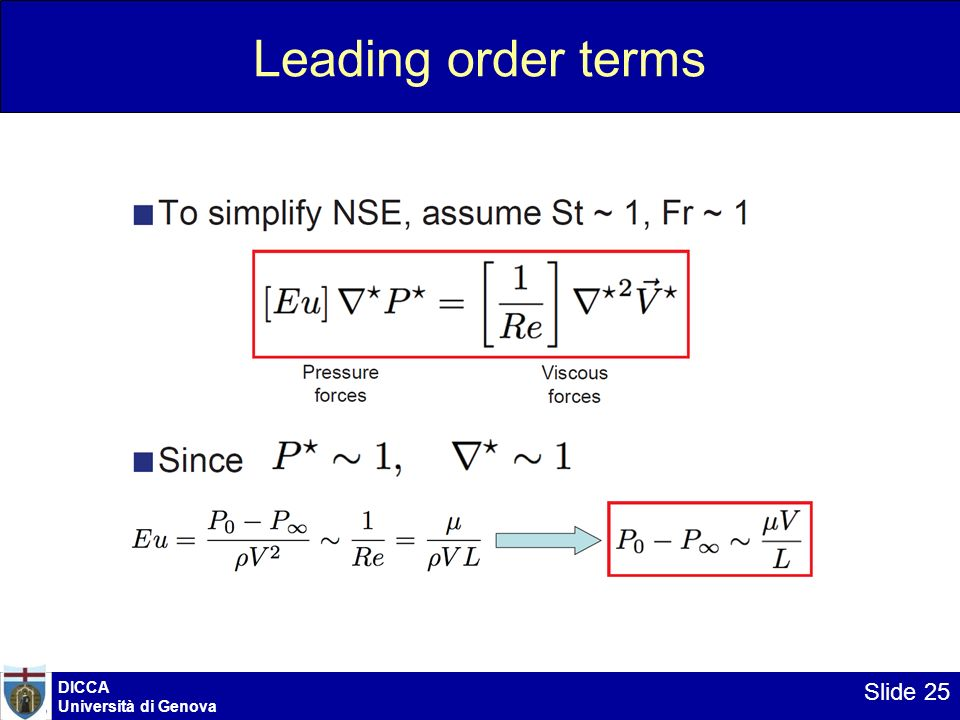 DICCA Università di Genova Slide 25 Leading order terms