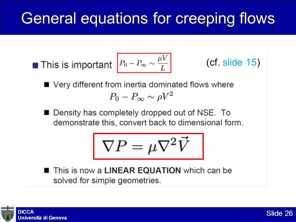 DICCA Università di Genova Slide 26 General equations for creeping flows (cf. slide 15)