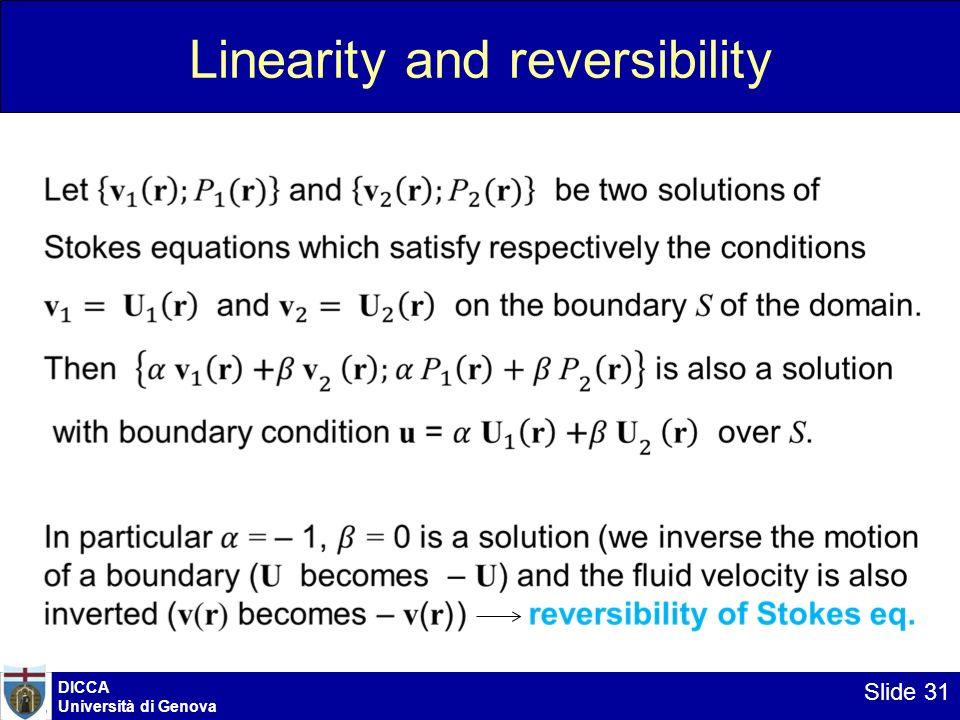 DICCA Università di Genova Slide 31 Linearity and reversibility