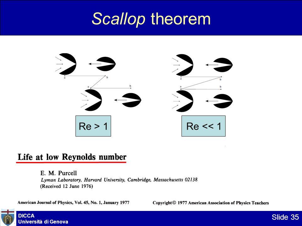 DICCA Università di Genova Slide 35 Scallop theorem Re > 1 Re << 1