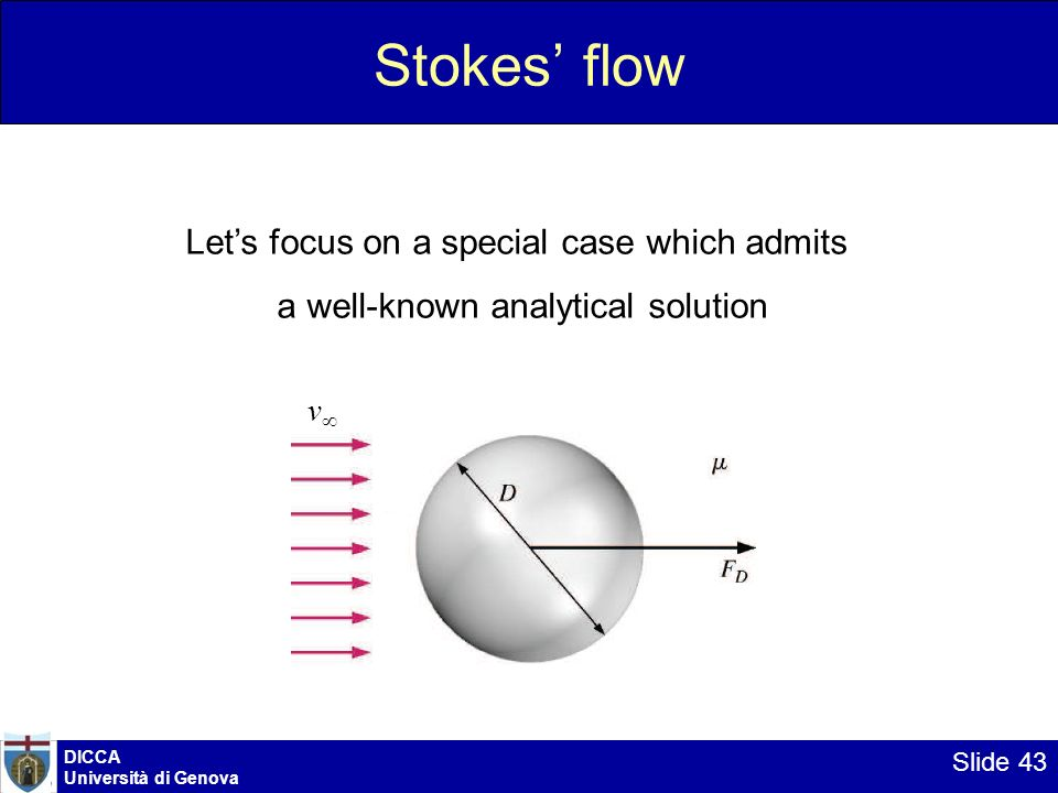 DICCA Università di Genova Slide 43 Stokes flow Lets focus on a special case which admits a well-known analytical solution v