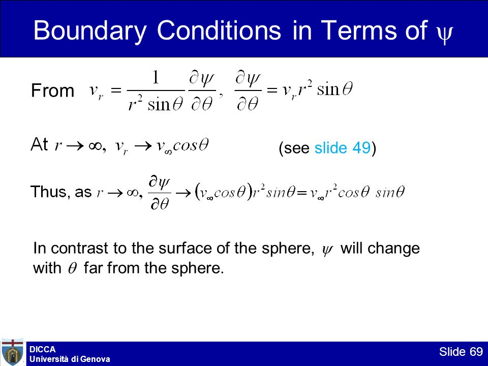 DICCA Università di Genova Slide 69 Boundary Conditions in Terms of From In contrast to the surface of the sphere, will change with far from the spher
