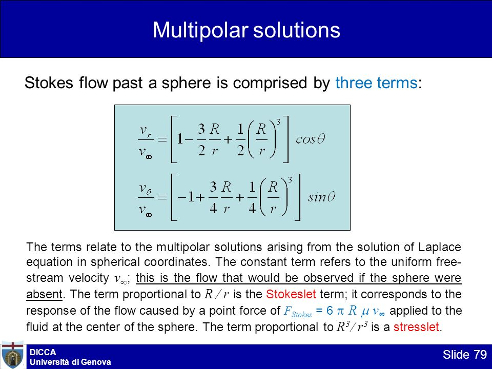 DICCA Università di Genova Slide 79 Multipolar solutions Stokes flow past a sphere is comprised by three terms: The terms relate to the multipolar sol