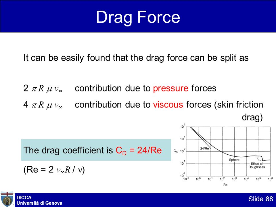 DICCA Università di Genova Slide 88 Drag Force It can be easily found that the drag force can be split as 2 p R m v contribution due to pressure force