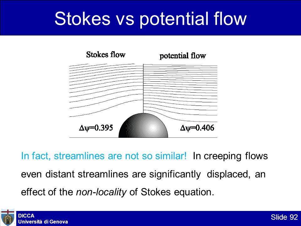 DICCA Università di Genova Slide 92 Stokes vs potential flow In fact, streamlines are not so similar! In creeping flows even distant streamlines are s