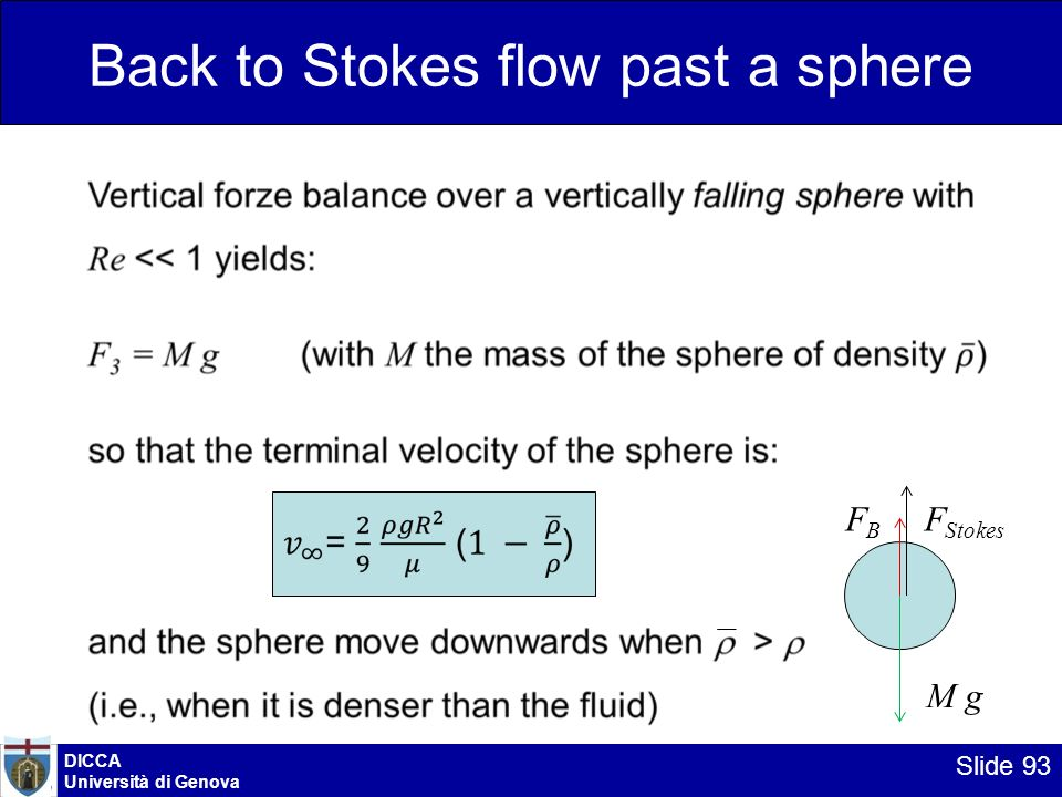 DICCA Università di Genova Slide 93 Back to Stokes flow past a sphere M g F B F Stokes