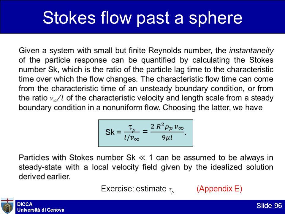 DICCA Università di Genova Slide 96 Stokes flow past a sphere Exercise: estimate p (Appendix E)