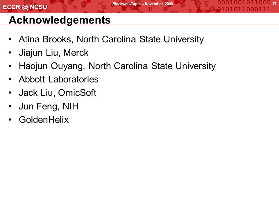 X 0001001011000 0101011000111 R2R2 ECCR @ NCSU 27Blackwell-Tapia - November 2008 Acknowledgements Atina Brooks, North Carolina State University Jiajun