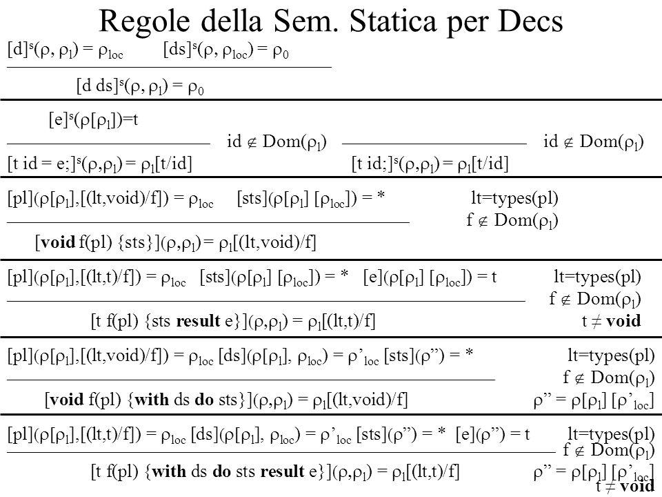 Regole della Sem. Statica per Decs [d] s ( l ) = loc [ds] s ( loc ) = 0 _____________________________________________________ [d ds] s ( l ) = 0 [e] s