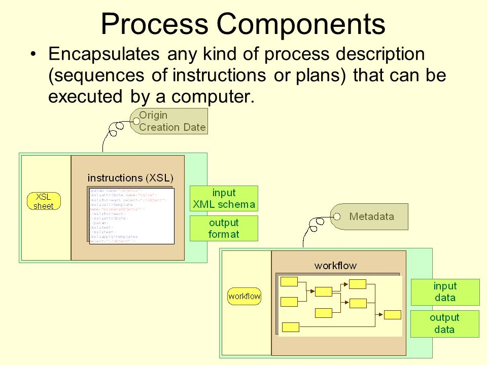 Process Components Encapsulates any kind of process description (sequences of instructions or plans) that can be executed by a computer.