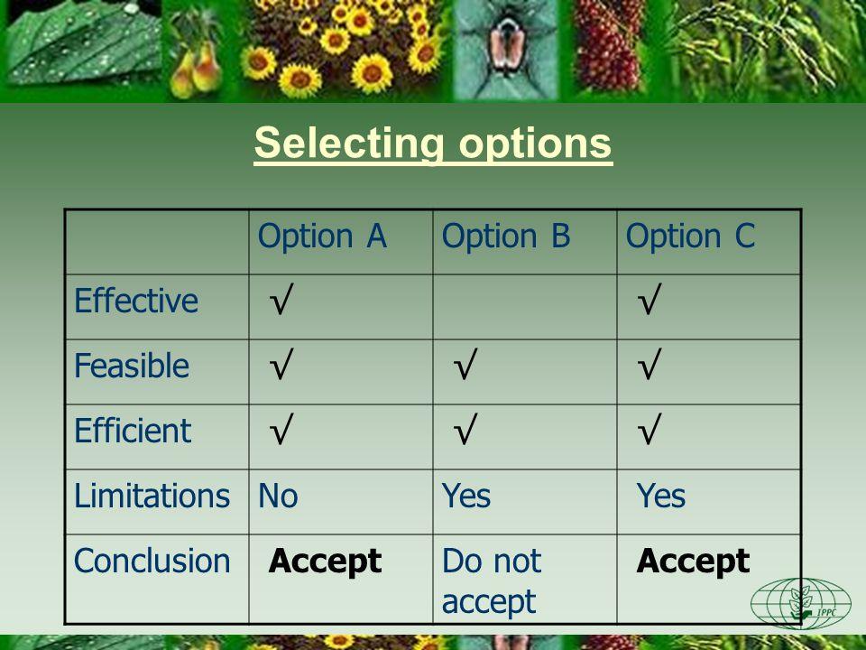 Selecting options Option AOption BOption C Effective Feasible Efficient LimitationsNoYes Conclusion AcceptDo not accept Accept