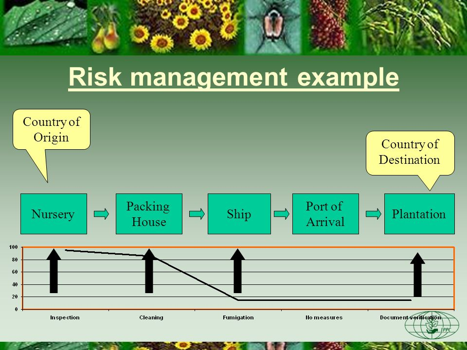 Risk management example Nursery Packing House ShipPlantation Port of Arrival Country of Origin Country of Destination