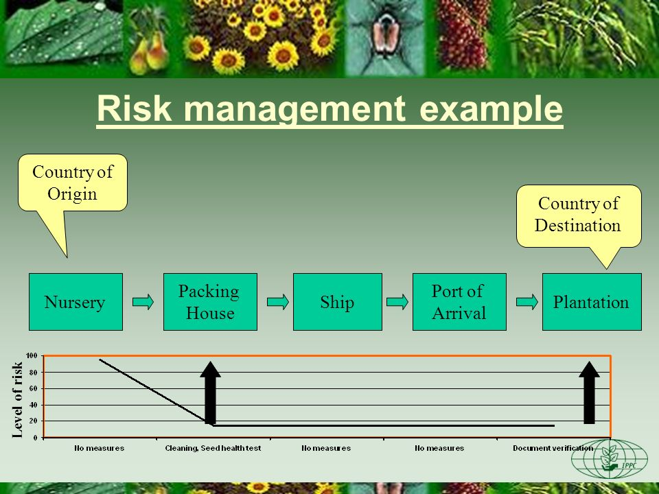 Risk management example Nursery Packing House ShipPlantation Port of Arrival Country of Origin Country of Destination Level of risk