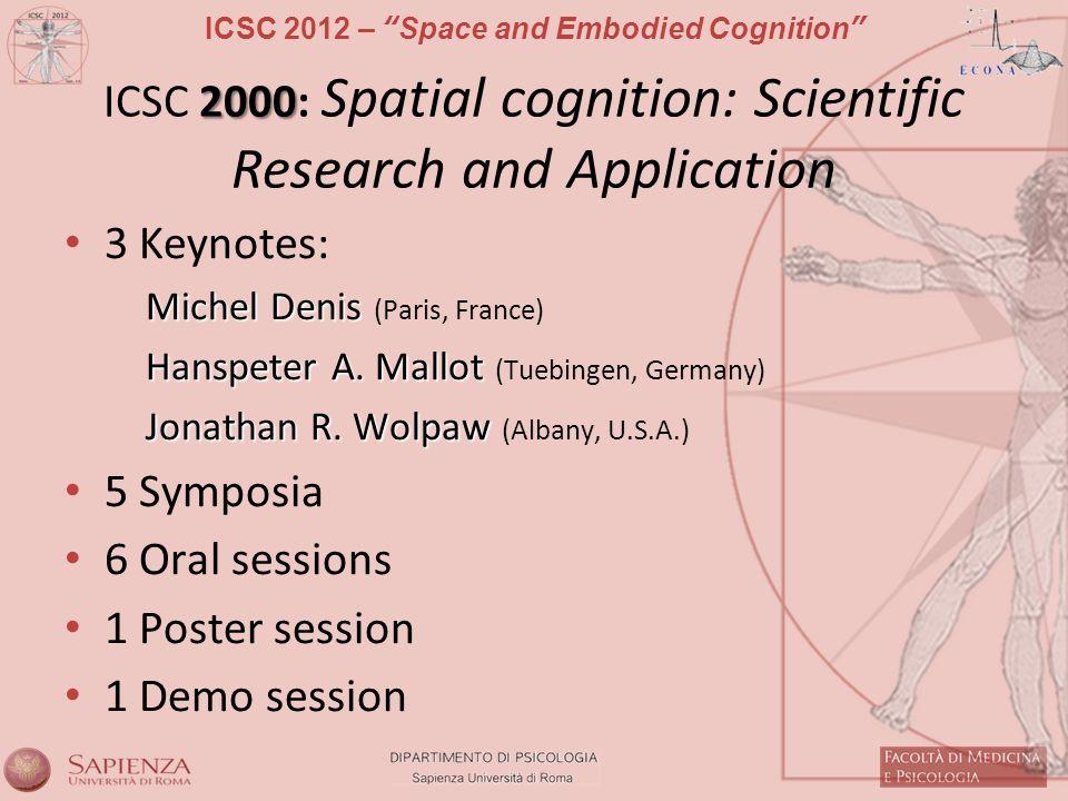 ICSC 2012 – Space and Embodied Cognition 2000 ICSC 2000: Spatial cognition: Scientific Research and Application 3 Keynotes: Michel Denis Michel Denis (Paris, France) Hanspeter A.