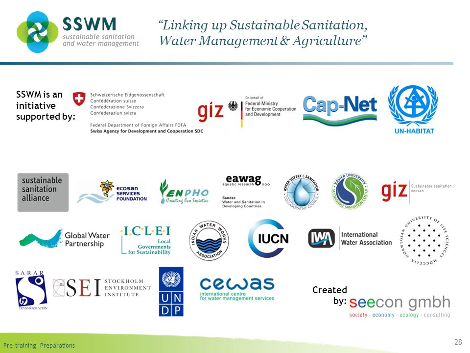 Pre-training Preparations 28 Linking up Sustainable Sanitation, Water Management & Agriculture SSWM is an initiative supported by: Created by: