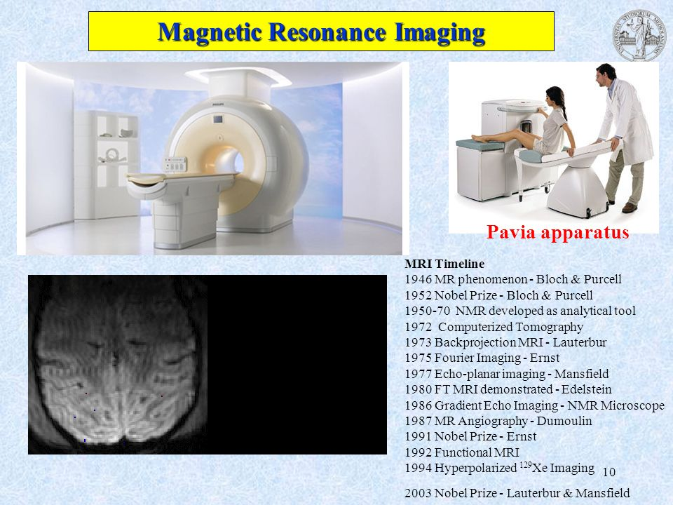 10 Magnetic Resonance Imaging MRI Timeline 1946 MR phenomenon - Bloch & Purcell 1952 Nobel Prize - Bloch & Purcell 1950-70 NMR developed as analytical