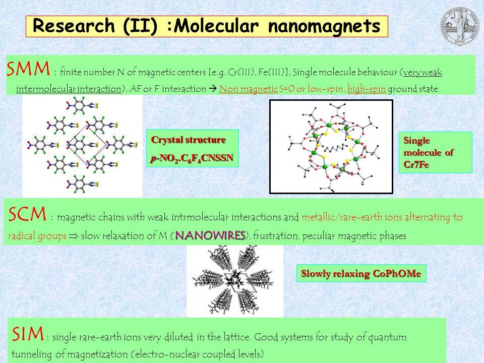 Research (II) :Molecular nanomagnets SMM : finite number N of magnetic centers [e.g. Cr(III), Fe(III)], Single molecule behaviour (very weak intermole