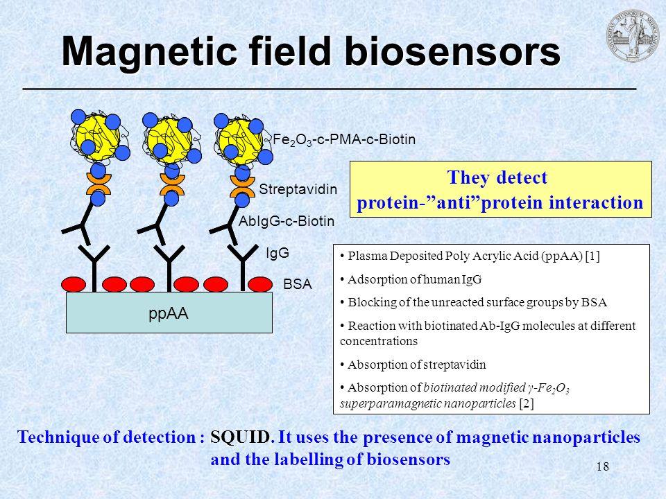 18 Magnetic field biosensors IgG BSA AbIgG-c-Biotin Streptavidin Fe 2 O 3 -c-PMA-c-Biotin ppAA Plasma Deposited Poly Acrylic Acid (ppAA) [1] Adsorptio