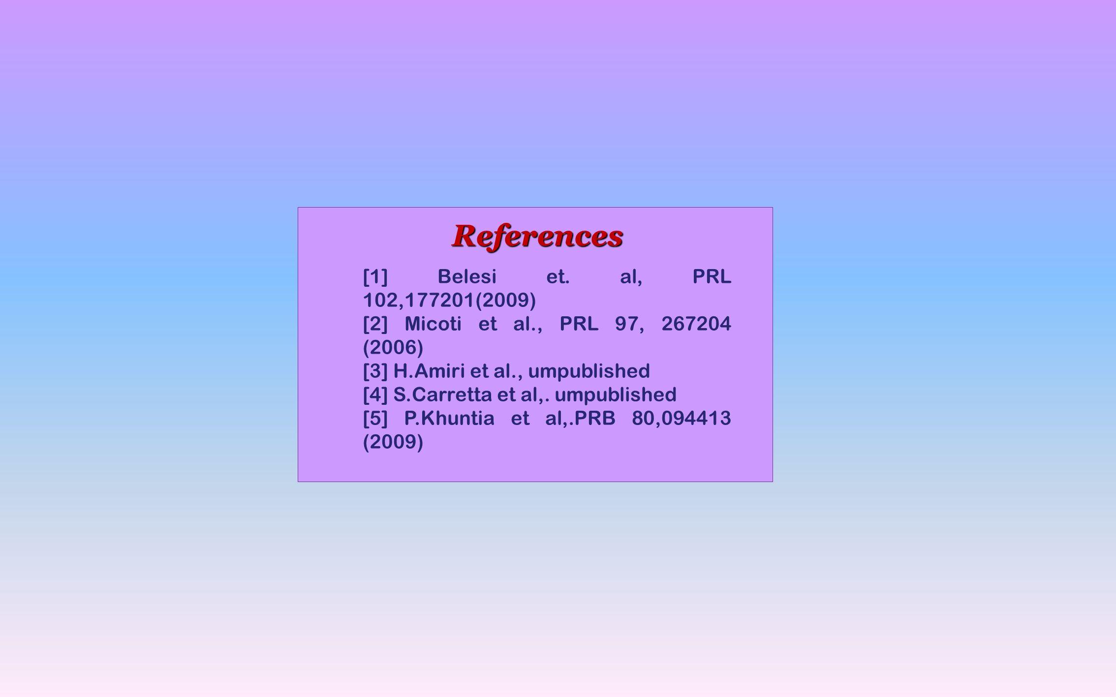 References [1] Belesi et.
