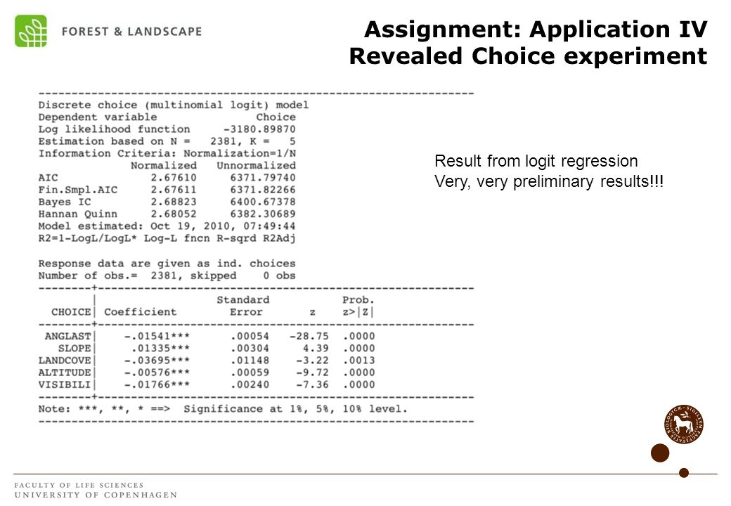 Assignment: Application IV Revealed Choice experiment Result from logit regression Very, very preliminary results!!!