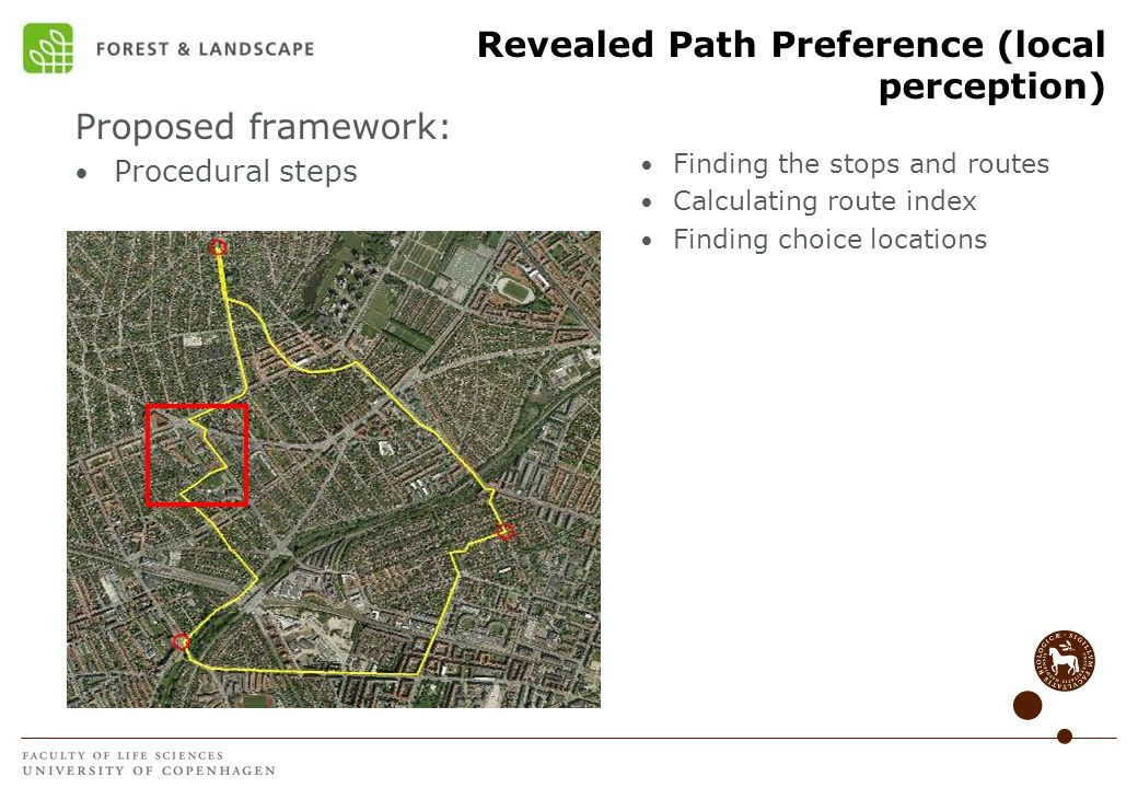 Revealed Path Preference (local perception) Proposed framework: Procedural steps Finding the stops and routes Calculating route index Finding choice l