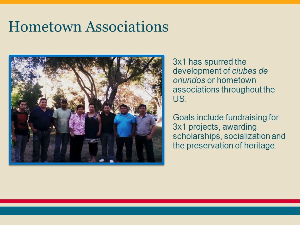 Hometown Associations 3x1 has spurred the development of clubes de oriundos or hometown associations throughout the US.