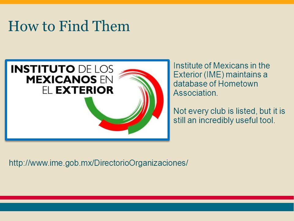 How to Find Them Institute of Mexicans in the Exterior (IME) maintains a database of Hometown Association.