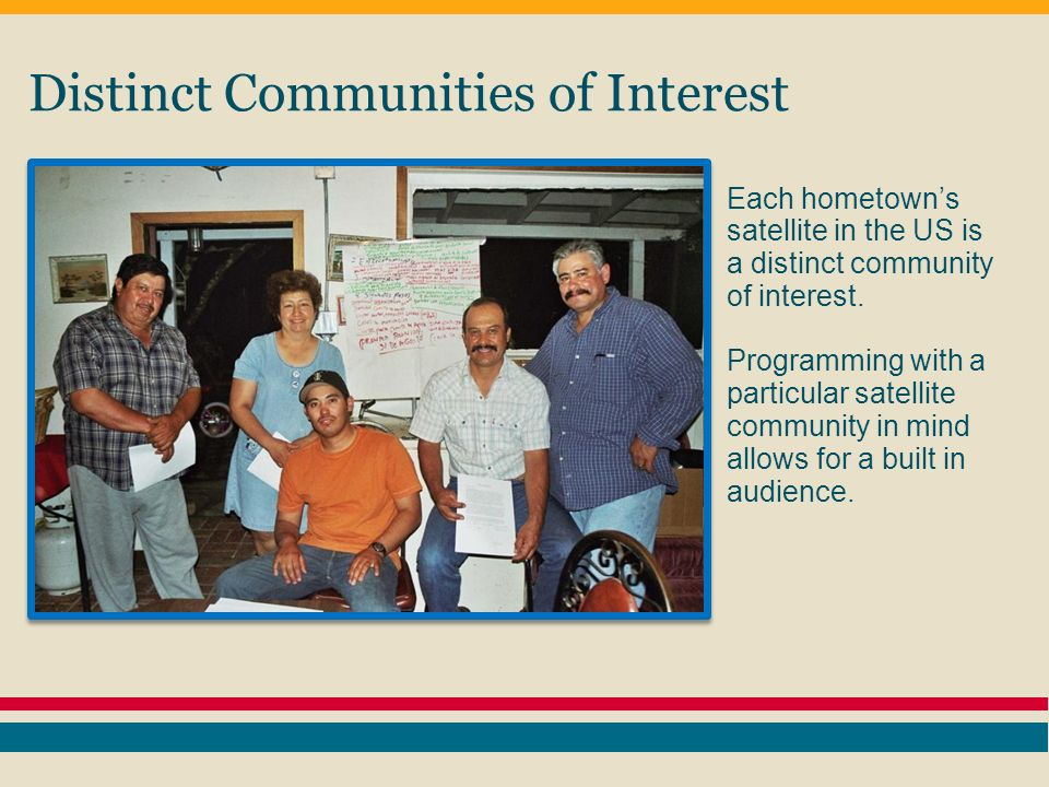 Distinct Communities of Interest Each hometowns satellite in the US is a distinct community of interest.