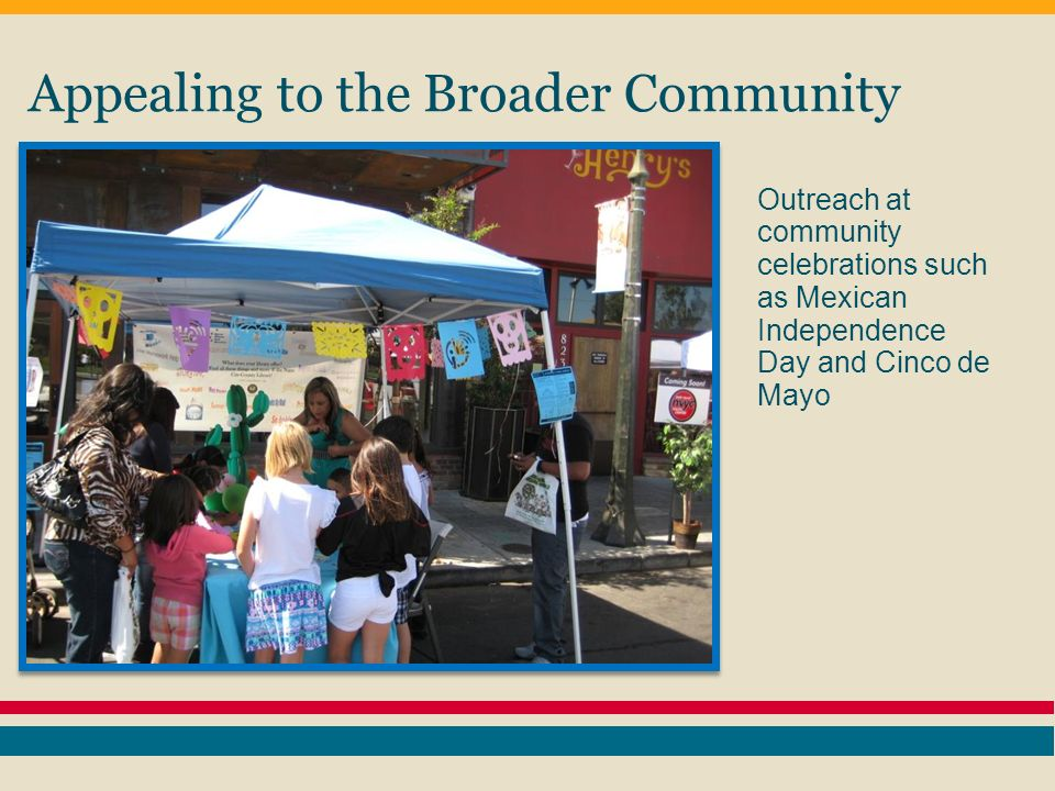 Appealing to the Broader Community Outreach at community celebrations such as Mexican Independence Day and Cinco de Mayo