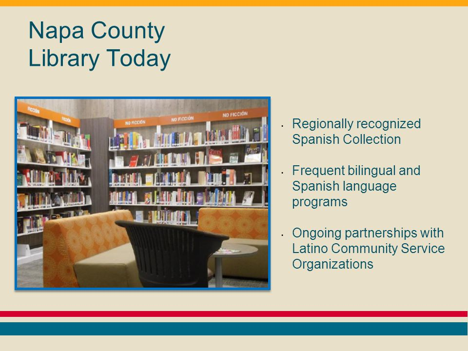 Napa County Library Today Regionally recognized Spanish Collection Frequent bilingual and Spanish language programs Ongoing partnerships with Latino Community Service Organizations