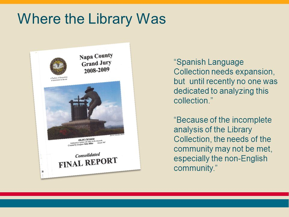 Where the Library Was Spanish Language Collection needs expansion, but until recently no one was dedicated to analyzing this collection.