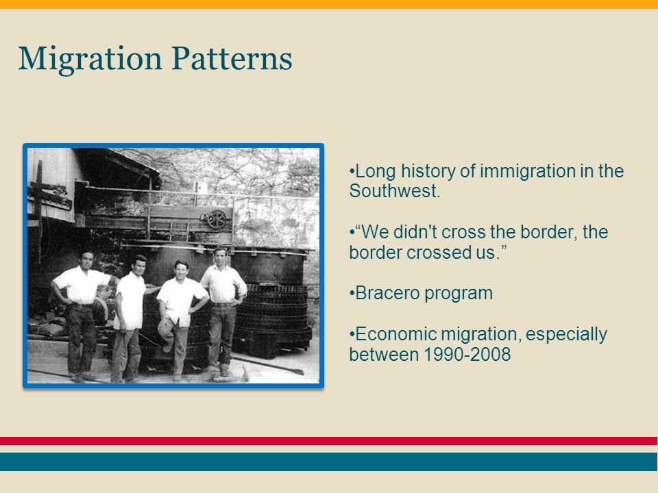 Migration Patterns Since 2000 the largest growth in Latino population has occurred in: 1.