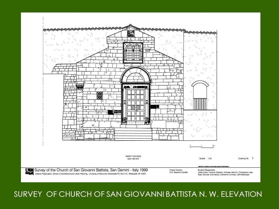 SURVEY OF CHURCH OF SAN GIOVANNI BATTISTA N. W. ELEVATION