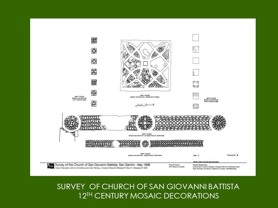 SURVEY OF CHURCH OF SAN GIOVANNI BATTISTA 12 TH CENTURY MOSAIC DECORATIONS