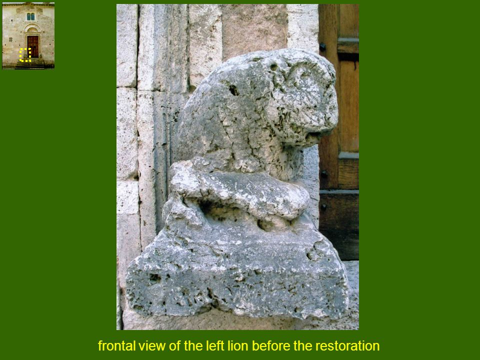 frontal view of the left lion before the restoration