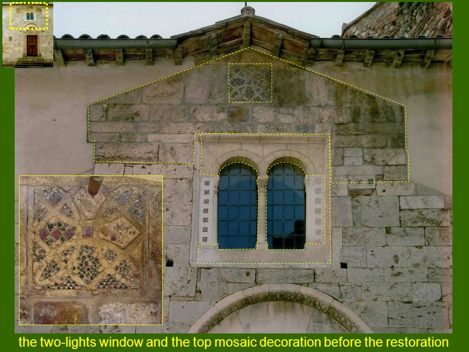 the two-lights window and the top mosaic decoration before the restoration