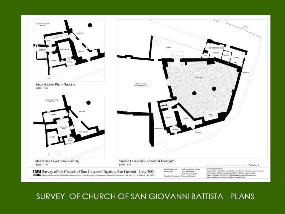 SURVEY OF CHURCH OF SAN GIOVANNI BATTISTA - PLANS