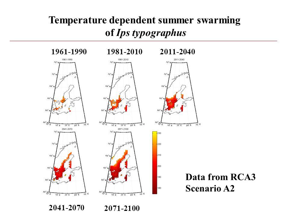 Temperature dependent summer swarming of Ips typographus 1961-19901981-20102011-2040 2041-2070 2071-2100 Data from RCA3 Scenario A2