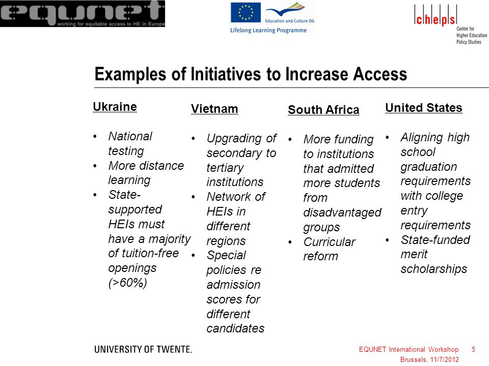 5 Examples of Initiatives to Increase Access EQUNET International Workshop Brussels, 11/7/2012 Ukraine National testing More distance learning State-