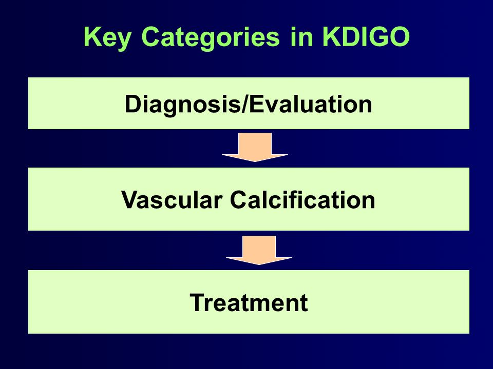 Key Categories in KDIGO Diagnosis/Evaluation Treatment Vascular Calcification
