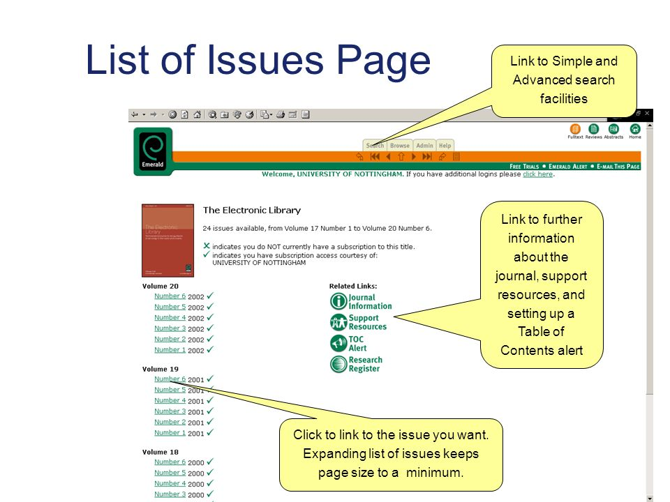 List of Issues Page Link to Simple and Advanced search facilities Link to further information about the journal, support resources, and setting up a Table of Contents alert Click to link to the issue you want.