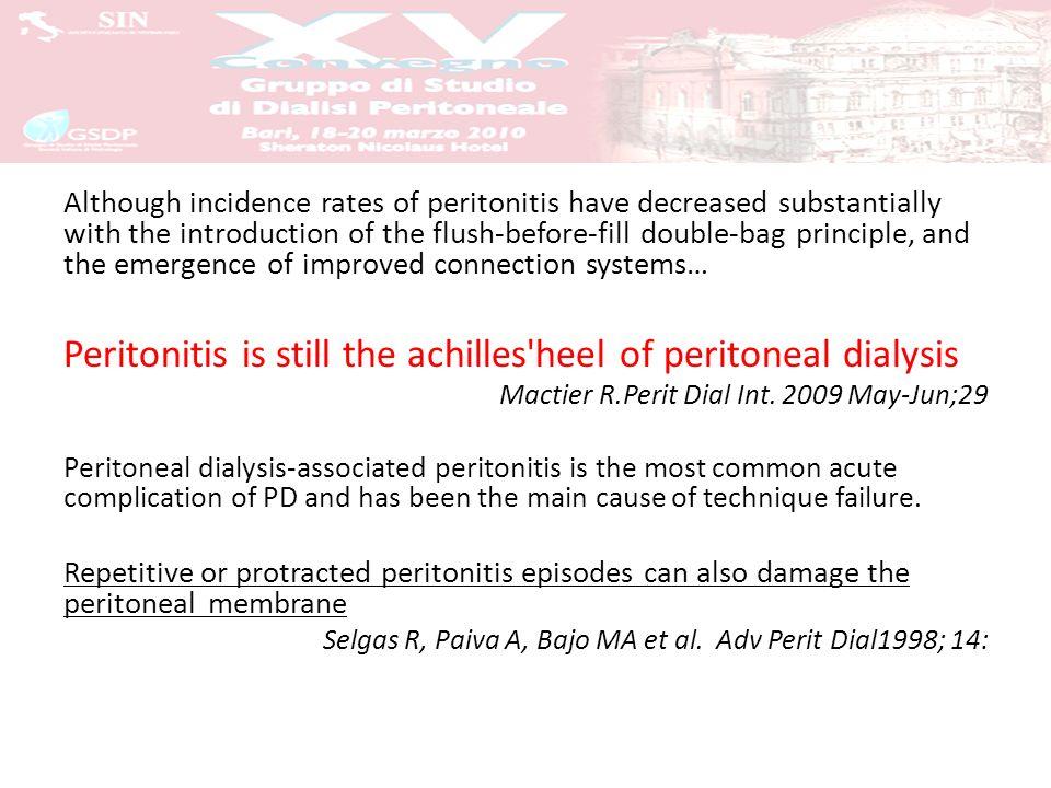 Drop-out per peritonite: 5-10% dei paz/anno Peritonite come causa di drop-out: 25- 40% Degenza ospedaliera: 5 giorni/anno paziente in trattamento Mortalità per peritonite 2-12%