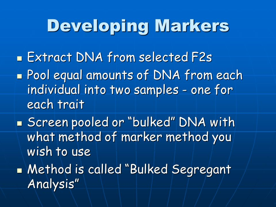 Developing Markers Cross individual differing in trait you wish to develop a marker Cross individual differing in trait you wish to develop a marker Collect progeny and self or polycross the progeny Collect progeny and self or polycross the progeny Collect and select the F2 generation for the trait you are interested in Collect and select the F2 generation for the trait you are interested in Select 5 - 10 individuals in the F2 showing each trait Select 5 - 10 individuals in the F2 showing each trait