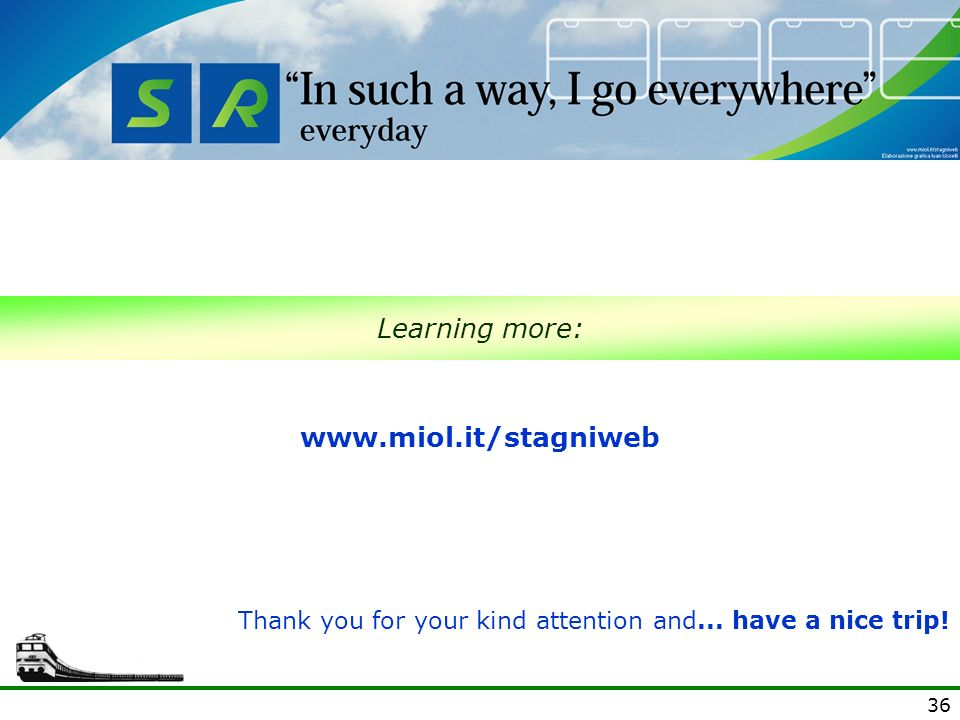 36 Learning more:   Thank you for your kind attention and... have a nice trip!