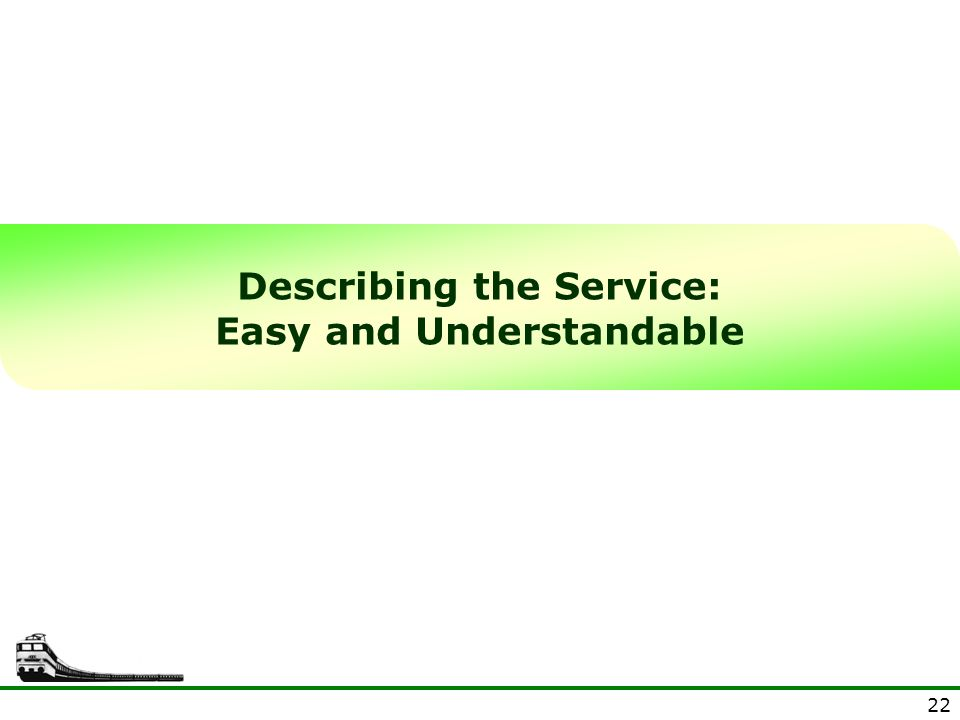 22 Describing the Service: Easy and Understandable