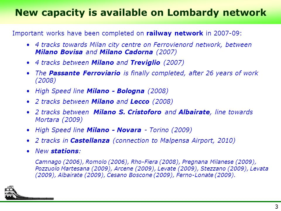 3 Important works have been completed on railway network in 2007-09: 4 tracks towards Milan city centre on Ferrovienord network, between Milano Bovisa